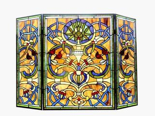 Tiffany Style Victorian Design 3 panel Fireplace Screen  Retail 273 99