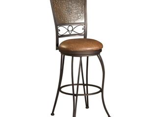 Powell Muted Copper Stamped Back Bar Stool  Bronze