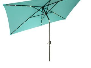 Rectangular Solar Powered LED Lighted Patio Umbrella - 10' x 6.5' - By Trademark Innovations (Teal)- Retail:$117.99