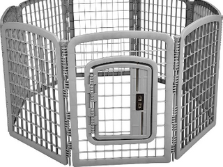 AmazonBasics 8 Panel Plastic Pet Pen Fence Enclosure With Gate   64 x 64 x 34 Inches  Black