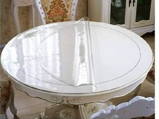 47 Inch Round Clear Table Protector for Dining Kitchen Desk Top Pad Mat Glass Furniture Coffee Marble End Bed Sofa Side Bar Night Stand Dinner Table Thick Plastic PVC Vinyl Circle Tablecloth Cover