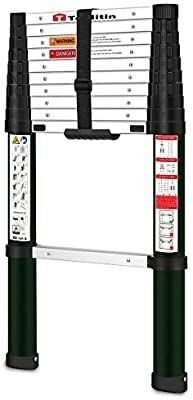 TOOlITIN Telescoping ladder 10 5 FT One Button Retraction Aluminum Telescopic Extension ladder Slow Down Design Extendable ladders Portable Best for Household Daily or RV Work 330 Pound Capacitya