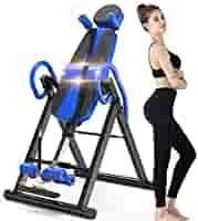 Yoleo Gravity Heavy Duty Inversion Table with Adjustable Headrest   Protective Belt  Blue