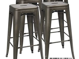 Furmax 30 Inches Metal Bar Stools High Backless Stools Indoor Outdoor Stackable Kitchen Stools Set of 4  Gun