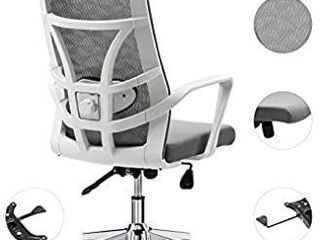 Allguest Office Chair Home Computer Chair White High Back Armrest Ergonomic Adjustable lumbar Support Mesh Nylon AG 876FH W