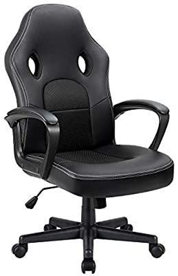 Office Chair Desk leather Gaming Chair  High Back Ergonomic Adjustable Racing Chair Task Swivel Executive Computer Chair  Black