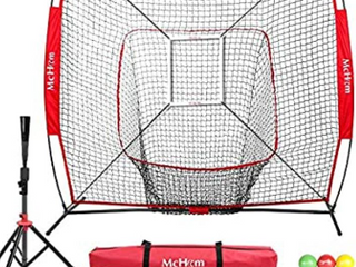 McHom 7  x 7  Baseball   Softball Net Set with Travel Tee  3 Weighted Balls  Strike Zone   Carry Bag for Hitting   Pitching Practice  Collapsible and Portable   Dark Blue