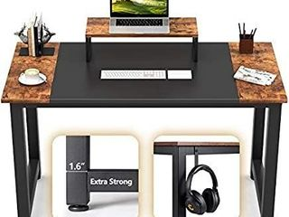 CubiCubi Computer Office Desk 63  Study Writing Table  Modern Simple Style PC Desk with Splice Board  Black and Rustic Brown
