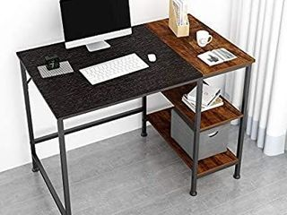 JOISCOPE Computer Desk with Shelves laptop Table with Wooden Drawer 40 inches Black Oak Finish  item comes in only one box unknown if complete