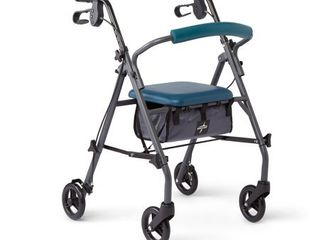 Medline Rollator Walker with Seat and Wheels  Folding Walker for Seniors with Microban Antimicrobial Protection  Durable Steel Frame Supports up to 350 lbs  6 inch wheels  Teal