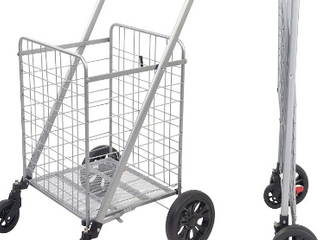 Omnirolls Grocery Shopping Cart With Heavy Duty Swivel Wheels Folds Flat With