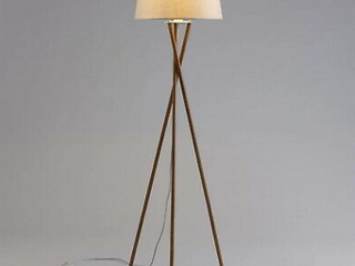 Ambiore Wood Tripod Floor lamp Maud a Modern Elegant Indoor Standing light with Complimentary Bulb Mid Century living Room and Bedroom a Solid Wood Walnut Stand with linen Fabric Shade   Beige White