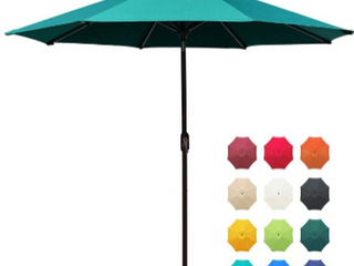 EliteShade Sunbrella Solar Umbrellas 9ft Market Umbrella with 80 lED lights Patio Umbrellas Outdoor Table Umbrella with Ventilation and 5 Years Non Fading Top Teal