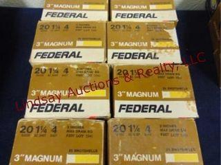 10   boxes Federal 20 ga 3  mag 4 shot  See pics