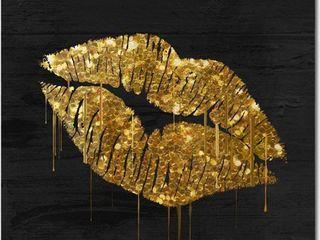 Color Bakery  Golden lips  Canvas Art   Gold