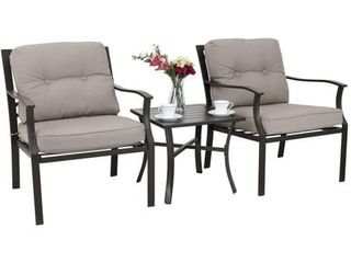 PHI VIllA 3 PC Patio Padded Conversation Set  2 Cushioned Chairs   1 Side Table  3 PC Set  Retail 286 49