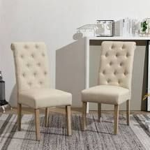 Copper Grove Schwalbach Wood Tufted Parsons Dining Chairs  Set of 2    Retail 151 49 tan