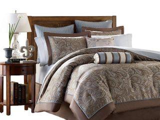 Madison Park Whitman Blue Complete Comforter and Cotton Sheet Set  Retail 122 99