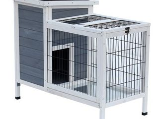 Pawhut 36  Wooden Outdoor Rabbit Hutch Enclosed Run only Retail 118 49