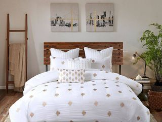 The Curated Nomad Miley Copper Dot Cotton 3 piece Comforter Set with Metallic Embroidery  Retail 106 98
