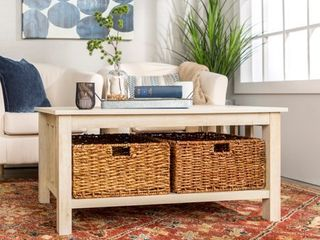 40 inch Coffee Table with Wicker Storage Baskets  Retail 208 49
