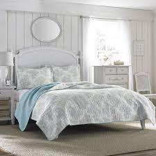 laura Ashley Saltwater Blue Reversible 3 piece Cotton Quilt Set  Retail 86 33