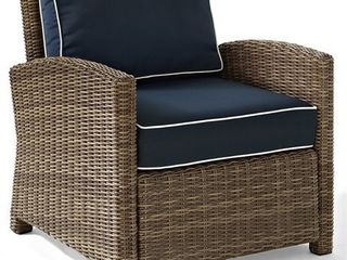 Bradenton Outdoor Wicker Arm Chair with Navy Cushions  Retail 396 99