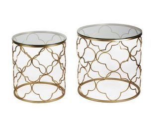 Garden Patio Postmodernism Golden Accent Metal Side Table  Set of 2  Retail 166 99