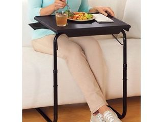 Portable Foldable TV Tray Table   laptop  Eating  Drawing Stand   Adjustable Tray w  Sliding Adjustable Cup Holder
