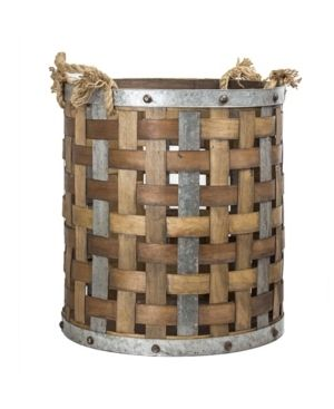 American Art Decor Rustic Wood and Metal Storage Basket Farmhouse Decor  large
