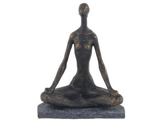 Decmode Rustic Polystone Brass Finished Meditating Woman Sculpture  Brass