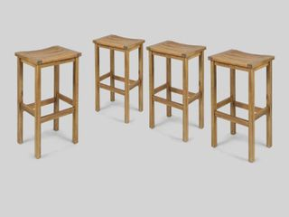 Caribbean Acacia Wood Outdoor Bar Stools set of 2 only