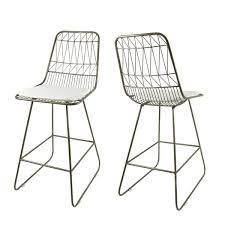 Niez Modern Outdoor 26  Seats Geometric Counter Stool  Set of 2  by Christopher Knight Home  Retail 169 49