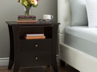 Furniture of America Mendolla Modern Espresso 2 drawer Nightstand  Retail 151 49