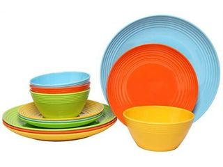 Melange 12 Pcs Melamine Dinnerware Set Solids Collection  Color  Multicolor  Dinner Plate  Salad Plate   Soup Bowl 4 Each