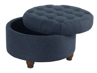 HomePop large Tufted Round Storage Ottoman   Navy  Retail 105 99
