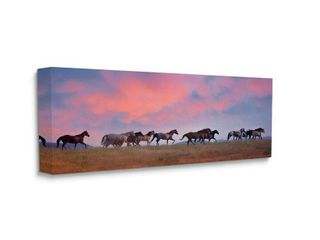 Stupell Industries Wild Horses Running at Pink Sunset Meadow Canvas Wall Art  Retail 89 49