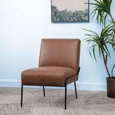Carbon loft Hofstetler Armless Tufted Accent Chair   Retail 209 99 walnut faux leather