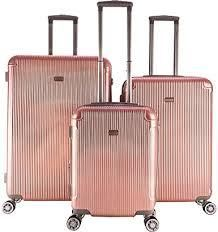 gabbiano 3 peice set rose gold suitcases