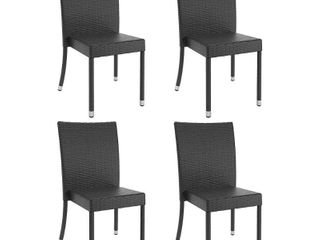 Sonax Set of 4 Park Terrace in Charcoal Weave Dining Chairs   Black