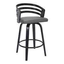 Carbon loft Evan Swivel Bar Stool in Black Brush Wood and Grey Faux leather  Retail 149 49