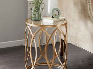 Silver Orchid Grant Gold  Glass Metal Eyelet Accent Table