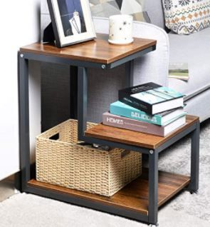 3 Tier End Table with Storage Shelf Side Table with Sturdy Metal Frame