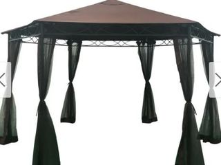 Duke Water Resistant Outdoor Gazebo With Brown Fabric