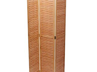 Basket Weave 3 panel Folding Bamboo Screen   16  x 68  Retail 127 49
