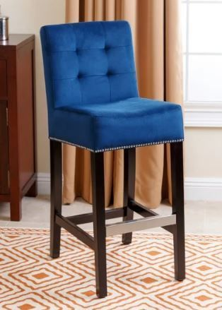 Abbyson Navy Blue Velvet Bar Stool