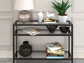 Sivil Rectangular Contemporary Metal Glass Console Table in Blackened Bronze Retail 179 49