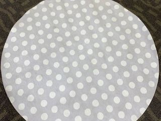 Small Stains  See Photos BIG POlKA DOTS lIGHT GREY Area Rug 5x5 by Kavka Designs Retail 166 99