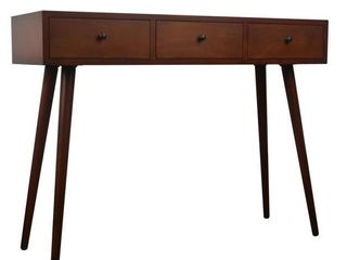 Mid Century Modern Three Drawer Wood Console Table  Retail 199 99