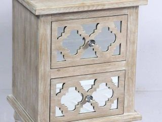The Curated Nomad Rockridge Whitewashed Wood and Mirror Nightstand  Retail 234 99